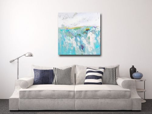 Large Blue Abstract Landscape Canvas Art Giclee Print