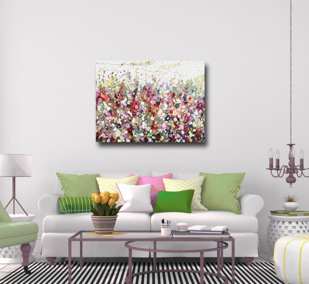 Large Canvas Prints Floral Canvas Art Meadow Painting Modern