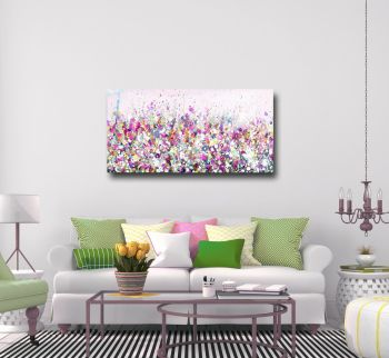 Pink Floral Meadow Abstract Canvas Art Panoramic Giclee Print
