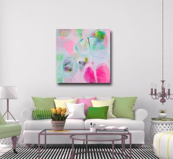 Large Pink Abstract Canvas Giclee Print Wall Art from Painting