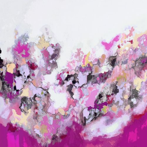 Large Pink Abstract Giclee Print Wall Art from Painting