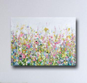 Floral Meadow Canvas Art Print in Pink and Green