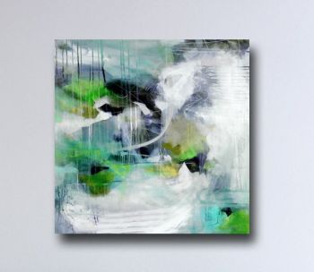 Large Green Abstract Art, Canvas Giclee Print from Painting, Wall Art