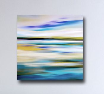 Large Abstract Landscape Canvas Art Giclee Print in Blue and Yellow