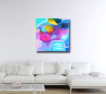 Large Blue and Pink Abstract Art Canvas Giclee Print from Painting
