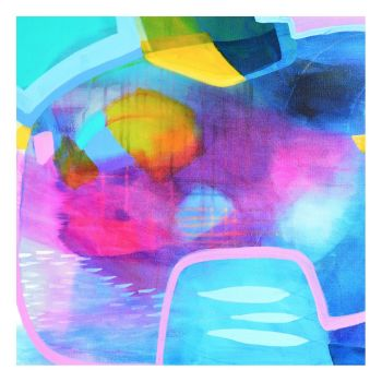 Blue and Pink Abstract Giclee Print Wall Art from Painting