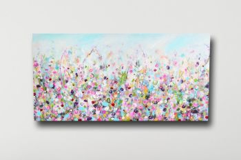 Floral Meadow Abstract Canvas Art Panoramic Giclee Print in Pink and Blue