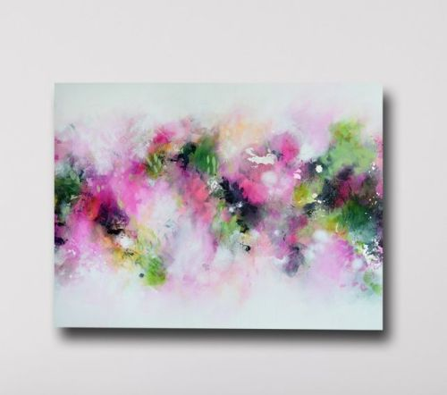 Large Canvas Wall Art - Pink and Green Abstract Canvas Art Giclee Print