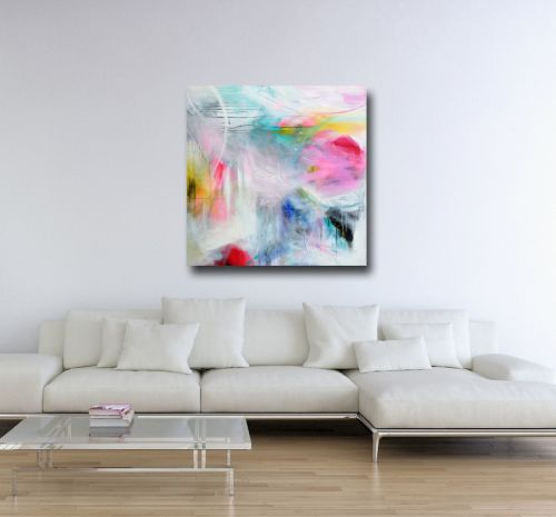 Large Canvas Wall Art - Blue, White and Pink Abstract Art Canvas Giclee Pri
