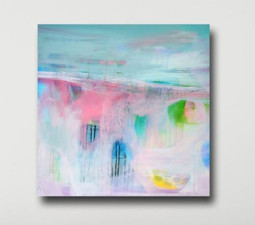 Large Wall Art - Blue and Pink Abstract Landscape Canvas Art Giclee Print
