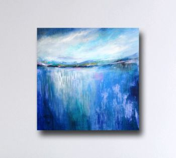 Large Canvas Wall Art - Blue Abstract Landscape Canvas Art Giclee Print from Painting