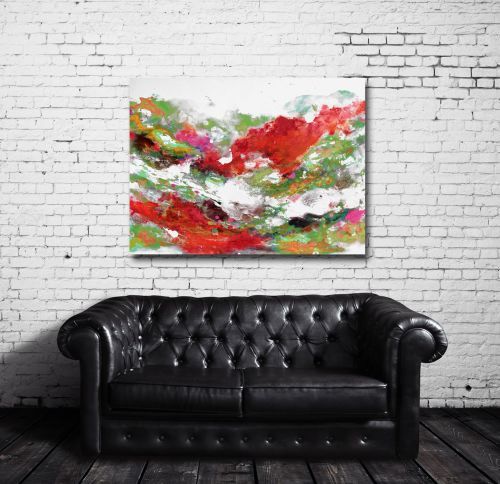 Large Red and Green Abstract Canvas Giclee Print Wall Art from Painting