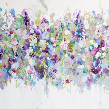 Purple Floral Meadow Abstract Wall Art Giclee Fine Art Print on Paper