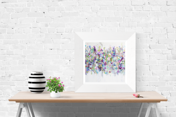 Purple Floral Meadow Abstract Canvas Art Giclee Fine Art Print on Paper