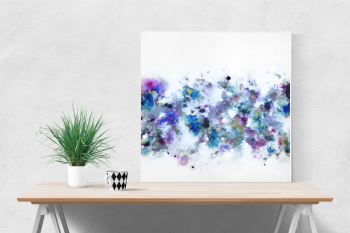 Canvas Wall Art, Blue and White Abstract Art Print from Painting - Blue Flow I