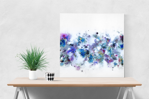 Canvas Wall Art, Blue and White Abstract Art Print from Painting - Blue Flo