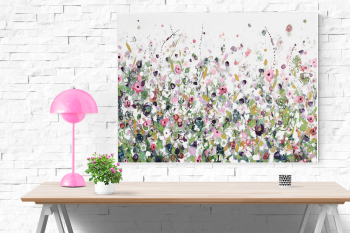 Floral Meadow Canvas Wall Art Print in Pink, Green and White