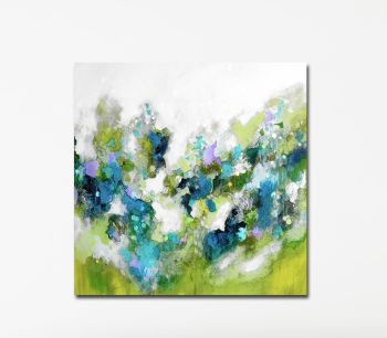 Large Green Abstract Canvas Giclee Print Wall Art from Painting