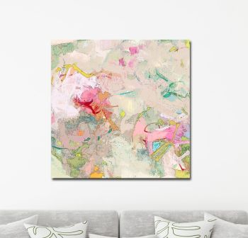 Large Beige Abstract Canvas Giclee Print Wall Art from Painting