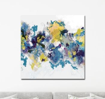 Canvas Wall Art, Blue, Yellow and White Abstract Art Print from Painting