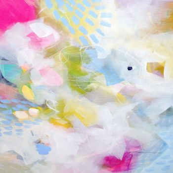 Pink and Blue Abstract Wall Art Giclee Print from Painting