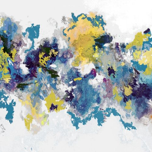 Blue, Yellow and White Abstract Wall Art Giclee Print from Painting