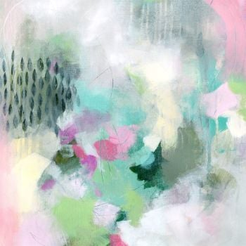 Green and Pink Abstract Wall Art Giclee Print from Painting