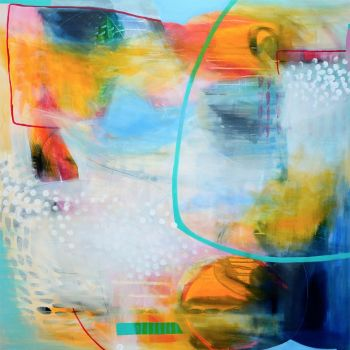 Colourful Blue and Yellow Abstract Wall Art Giclee Print from Painting