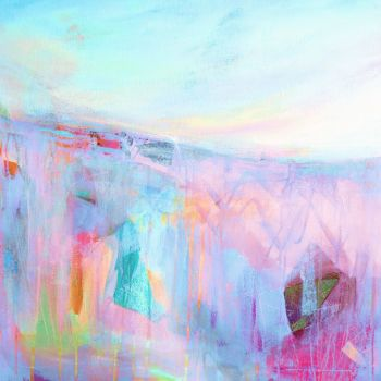 Pink and Blue Abstract Landscape Art Giclee Print on Paper