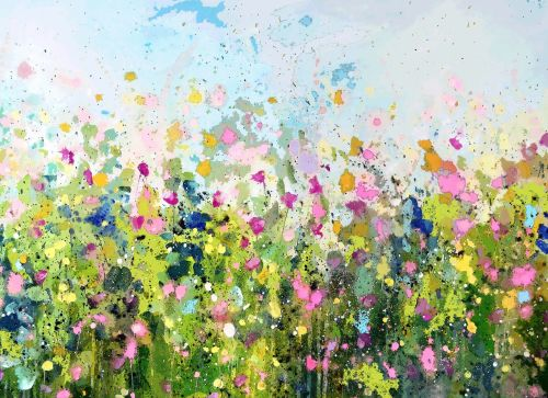 Green Floral Meadow Art Giclee Print on Paper