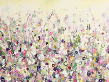 Colourful Meadow 22 - Yellow Floral Meadow Abstract Wall Art Giclee Fine Art Print on Paper