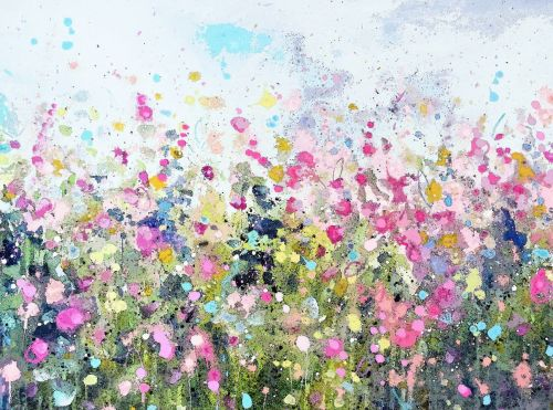 Colourful Meadow 22 - Yellow Floral Meadow Abstract Wall Art Giclee Fine Ar