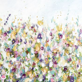 Colourful Meadow 3 - Yellow Floral Meadow Abstract Wall Art Giclee Fine Art Print on Paper