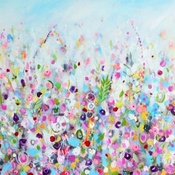 Colourful Meadow 8 - Turquoise Floral Meadow Abstract Wall Art Giclee Fine Art Print on Paper