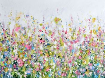 Colourful Meadow 30 - Green and Pink Floral Meadow Abstract Wall Art Giclee Fine Art Print on Paper
