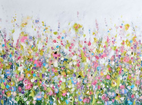 Colourful Meadow 30   Green And Pink Floral Meadow Abstract Wall Art Giclee  Fine Art Print On Paper