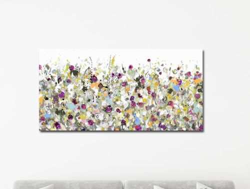 Floral Meadow Abstract Canvas Wall Art Panoramic Giclee Print