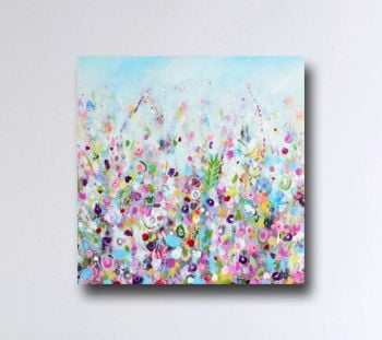 Large Floral Abstract Wall Art Giclee Print from Painting in Blue and Pink