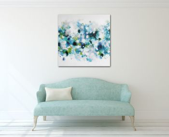 Canvas Wall Art, Turquoise Blue Large Abstract Art Giclee Print from Painting