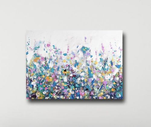 Large Floral Meadow Canvas Art Print in Blue, White and Pink