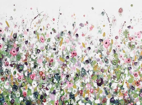 Colourful Meadow 30 - Green and Pink Floral Meadow Abstract Wall Art Giclee