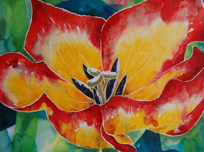Colourful Original Watercolour Floral Painting Red and Yellow Tulip