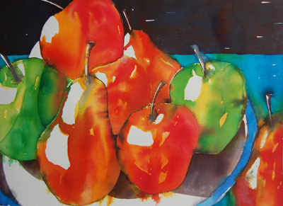 Apples & Pears  - Colourful Original Still Life Painting