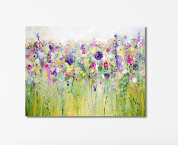 Spring Meadow Large Floral Canvas Art Print
