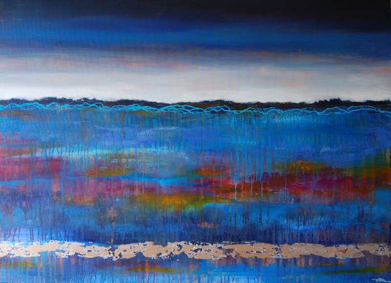 Large mixed media blue abstract landscape painting