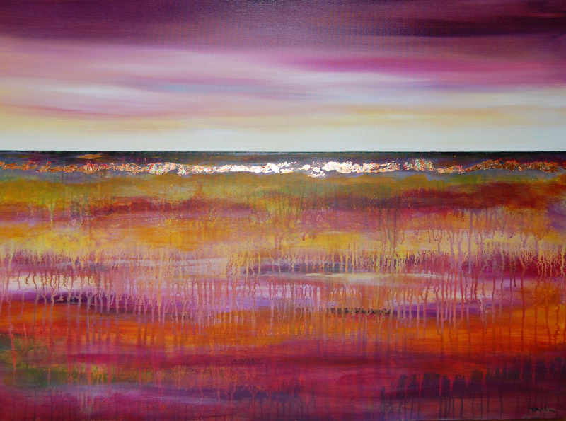 Purple Landscape - contemporary mixed media abstract landscape painting