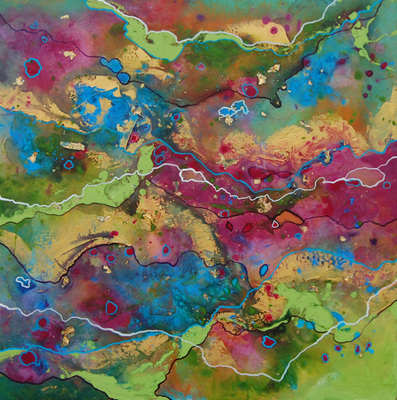 SOLD - Green Abstract Painting on Canvas.  Original Contemporary Art - Flow