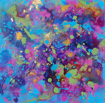 Blue Purple Green Pink And Gold Abstract Acrylic And