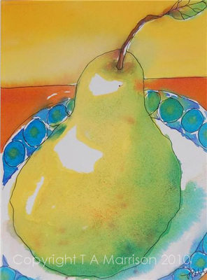 Colourful Original Still Life Painting - Pear