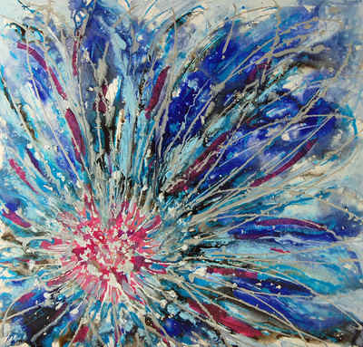 Mixed Media Floral Abstract Painting on Canvas Original Textured Art Blue P
